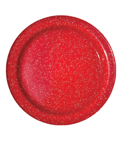 Red Enamelware Salad Plate